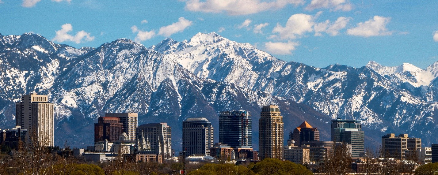 Salt Lake City skyline with mountains in the background