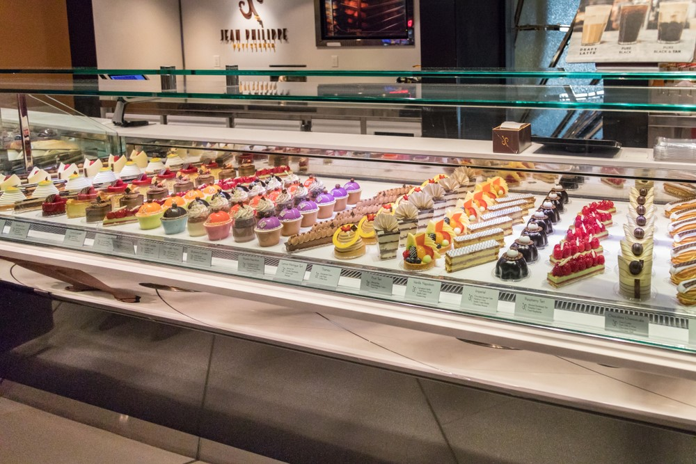 Delicious desserts on display in the Aria Resort & Casino in Las Vegas