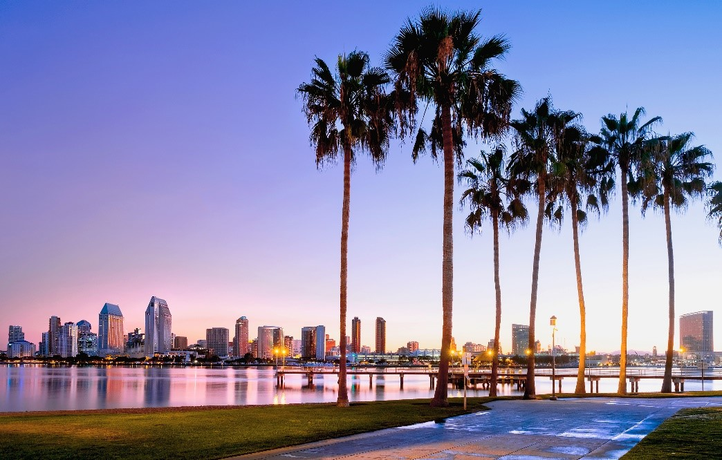 A beautiful and colorful sunrise at Coronado Island, San Diego