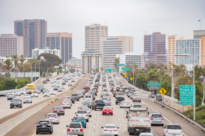 Aerial view of a congested highway near downtown San Diego