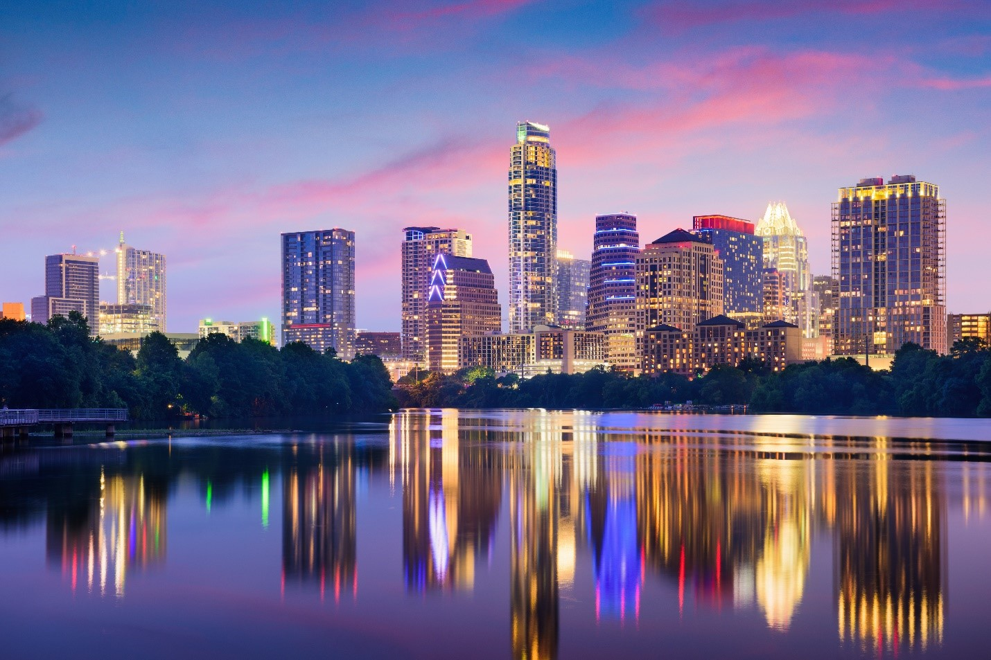 City skyline at sunset in Austin, Texas